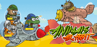 Place various armed animals on the fighter plane and protect your aircraft from enemy ships.
