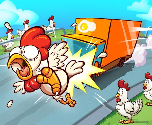 小雞去吧-小鸡去吧-Go Chicken Go-有一群雞需要過馬路,他們需要快速做到這一點。試著避免流血!